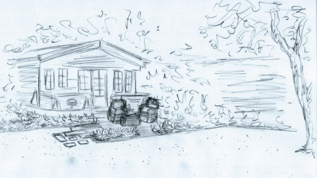 Concept sketch of summerhouse area Elstree Lisa Cox Garden Designs