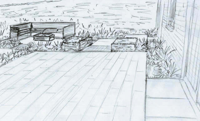 Concept sketch of terrace area Elstree garden Lisa Cox Designs