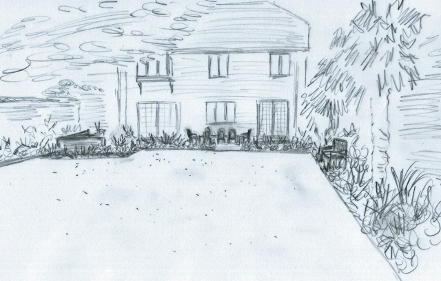 Conceptual sketch of design for garden in Elstree Lisa Cox Designs