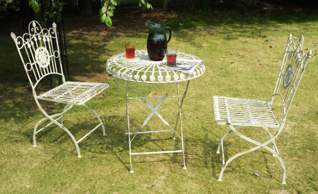 Amorettia bistro table and chairs Black Country Metal Works