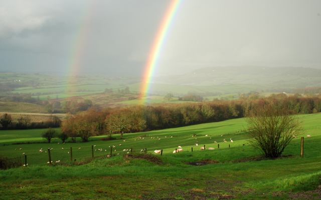 Double rainbow in Kilgwrrwg valley Lisa Cox Garden Designs