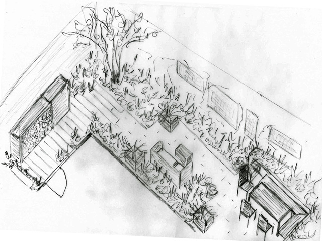 Axonometric sketch of back garden Monmouth Design Lisa Cox