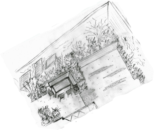Axonometric sketch of seating area Monmouth Garden Design Lisa Cox