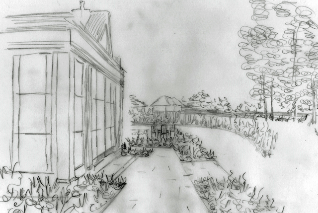 Concept sketch view across back of Cheshire house Lisa Cox