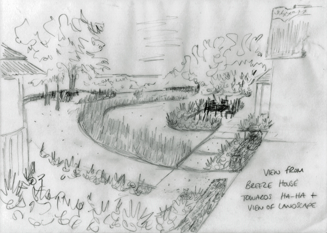 View from breeze house across main garden Lisa Cox Designs Cheshire